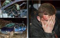 Авария в Вильнюсе: автомобиль разбит, трое пьяных друзей отделались испугом