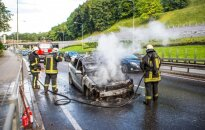 В Вильнюсе при движении загорелся автомобиль