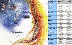 Suderinamumo lentelė - su kuriuo ženklu rasi savo meilę