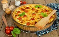 Koldūnų apkepas su špinatais ir sūriu