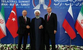 V. Putinas, R. T. Erdoganas ir H. Rouhani