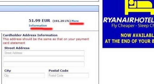 Ryanair bilieto kaina