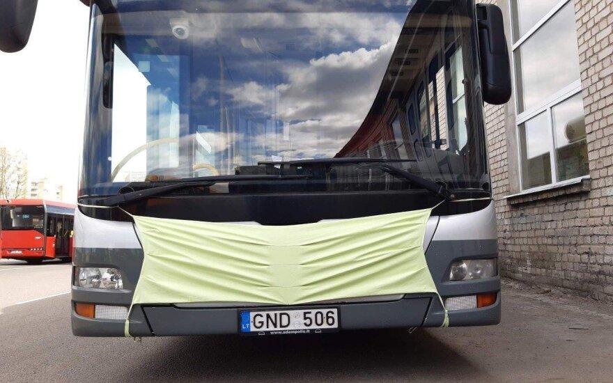 На улицы Вильнюса выехали автобусы в масках