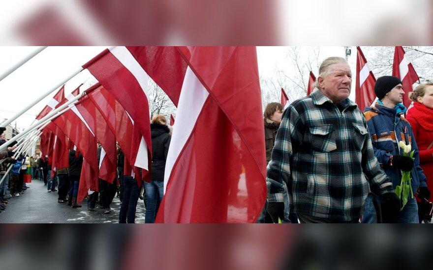 SS latvių legiono atminimo renginio dalyviai