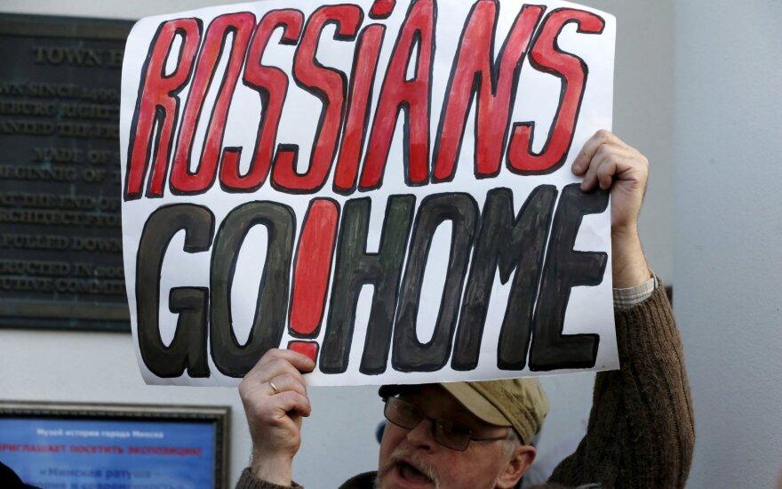 Opozicijos aktyvistų protestas Minske prieš Rusijos planus įkurti karinių oro pajėgų bazę Baltarusijoje