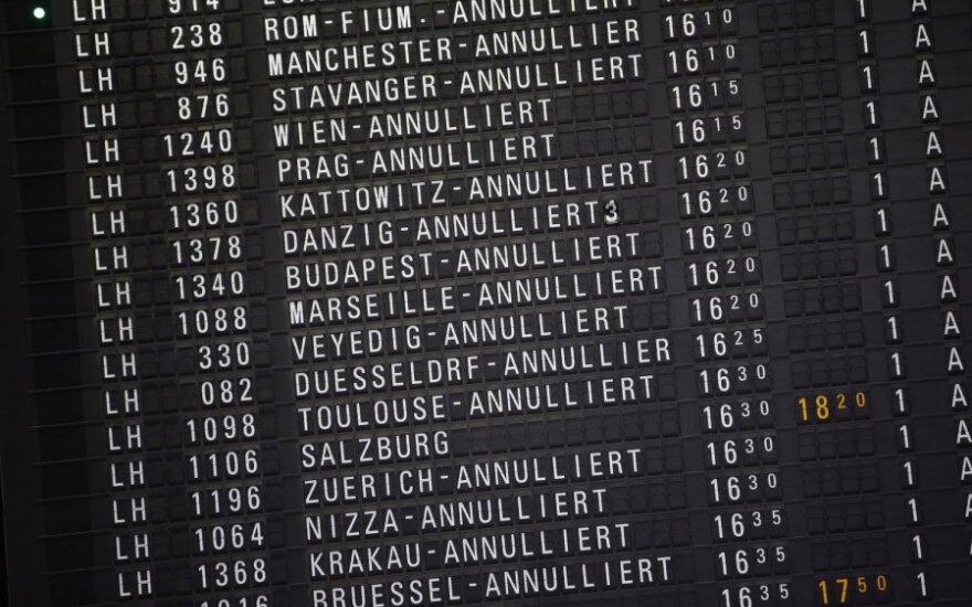 Atšaukti skrydžiai Frankfurto oro uoste