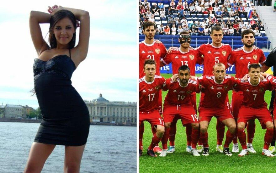 Alina Jeriomenko ir Rusijos futbolo rinktinė / Foto: Models-photo.ru/Sputnik