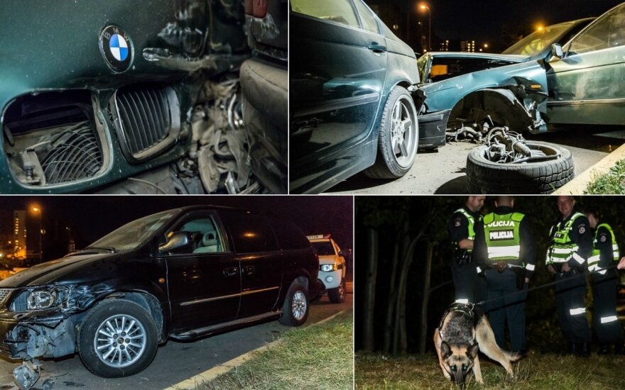 BMW влетел на заправочную: разбито три автомобиля, виновник скрылся в лесу