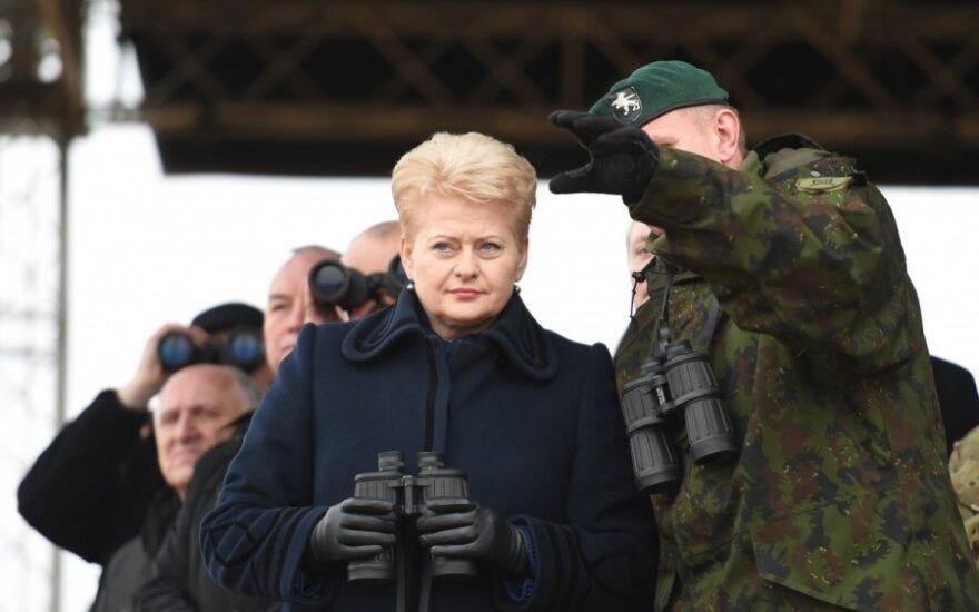 Dalia Grybauskaitė at Pabradė during the Iron Sword 2014