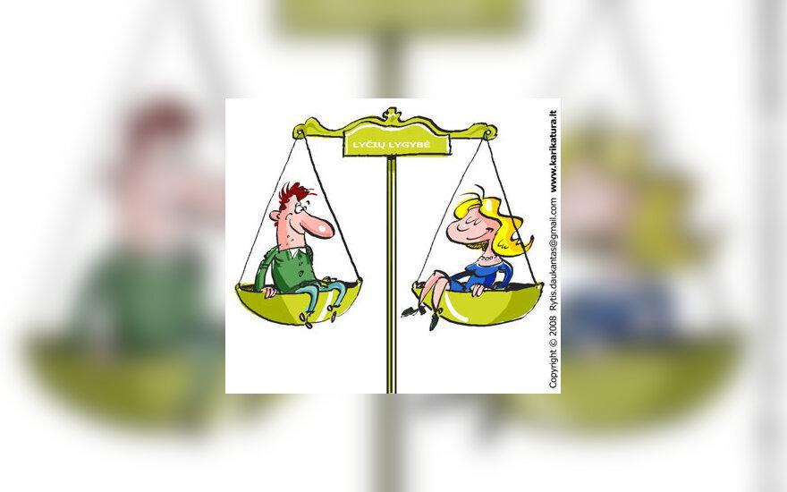 Vyras, moteris, lygios galimybės, karikatūra