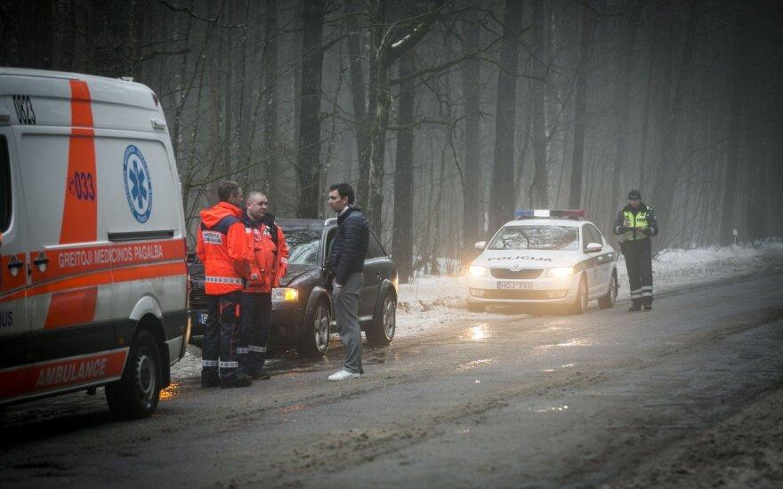На окраине Вильнюса в дерево врезался автомобиль