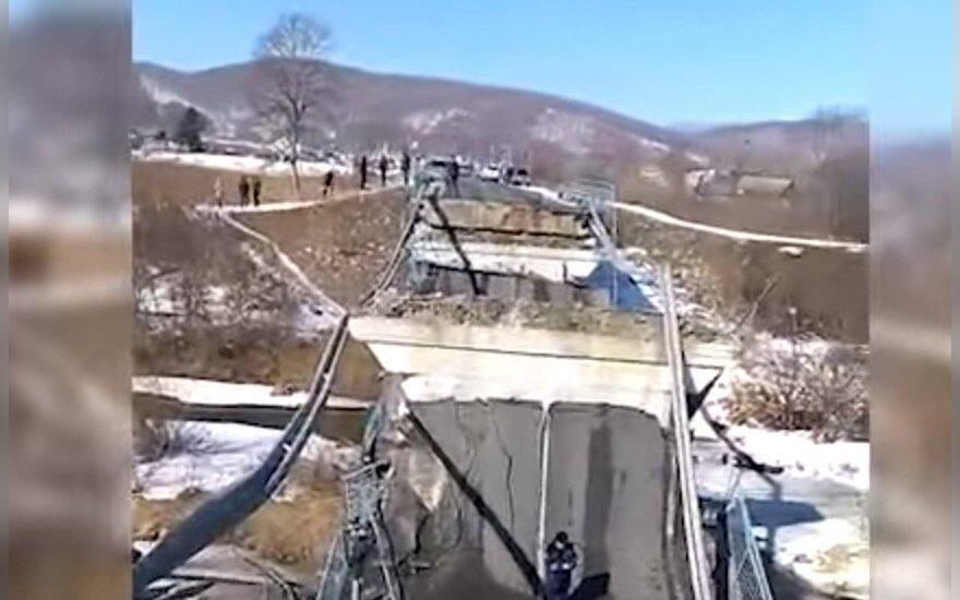 ВИДЕО: в районе российского Новолитовска обрушился мост