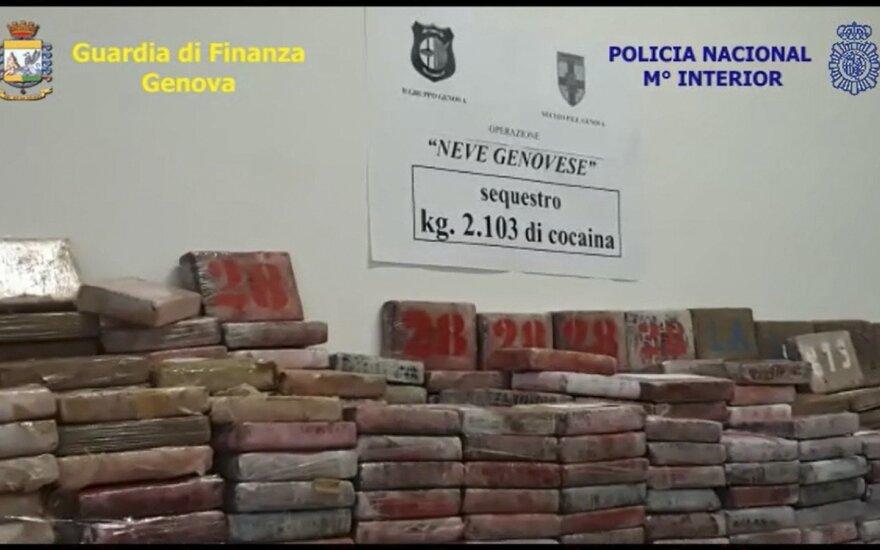 Italijoje konfiskuota didžiausia per ketvirtį amžiaus Ispanijai skirta kokaino siunta