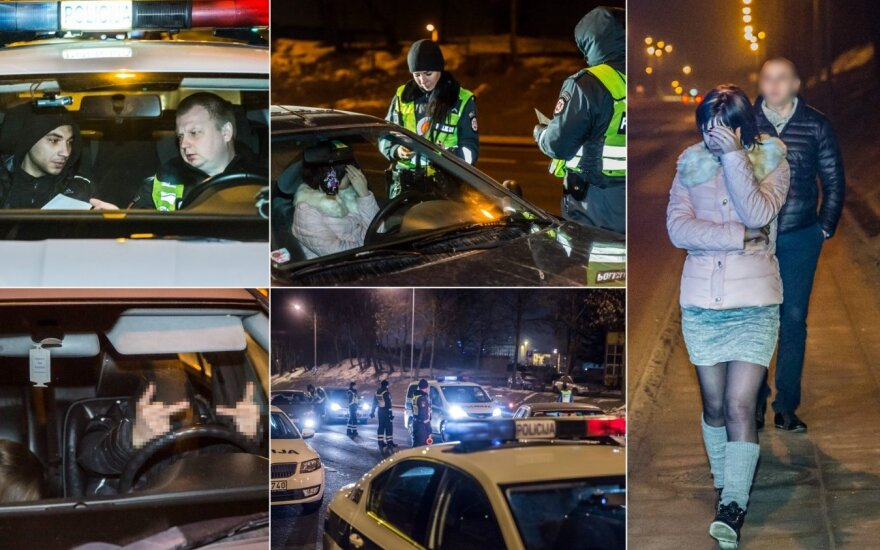В Вильнюсе ночью остановили двух водителей без прав