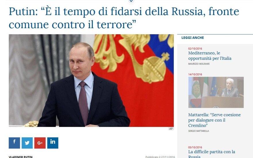 Итальянская газета La Stampa опубликовала статью Путина с призывом доверять России