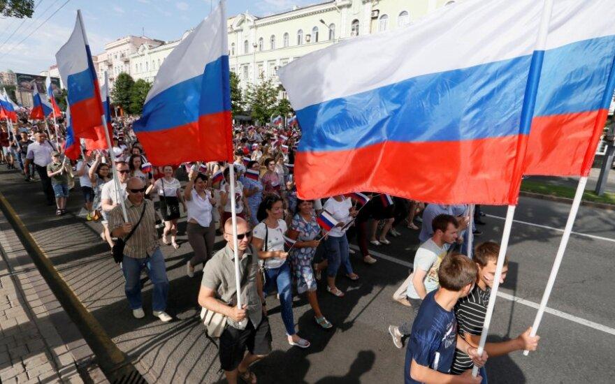 Rusijos dienos minėjimas apsišaukėliškoje Donecko liaudies respublikoje