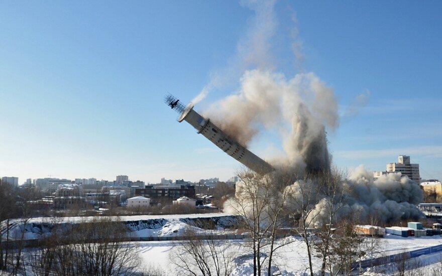 В Екатеринбурге взорвали недостроенного близнеца Вильнюсской телебашни