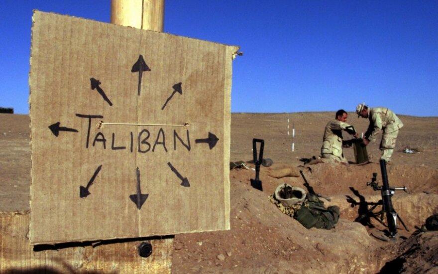 Ženklas, įspėjantis apie Talibano kontroliuojamą teritoriją Afganistane
