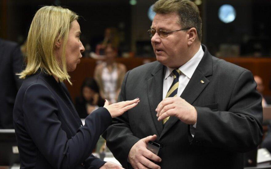 EU diplomacy chief Federica Mogherini and Lithuanian Foreign Minister Linas Linkevičius