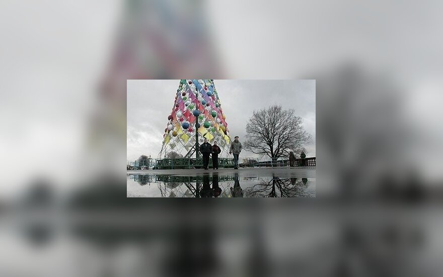 Kalėdinės eglutės instaliacija Maskvoje.