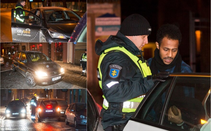 Ночью в Вильнюсе полиция наказала ехавшую против движения девушку и иностранца