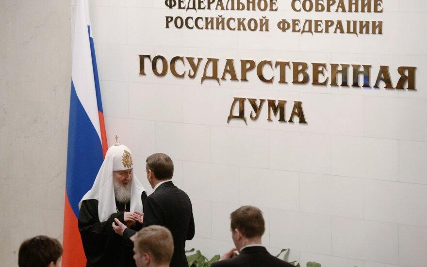 Patriarchas Kirilas lankosi Rusijos Dūmoje
