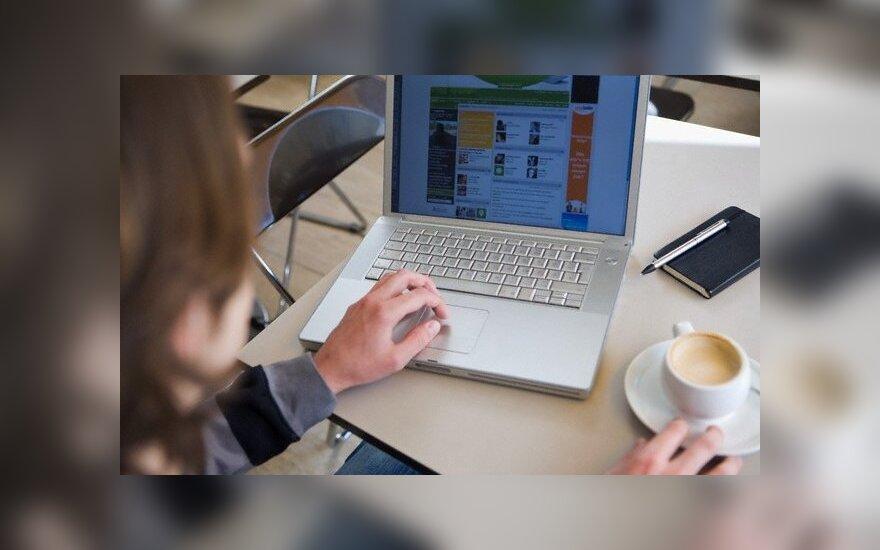 Internetas, darbas kompiuteriu, nešiojamasis kompiuteris