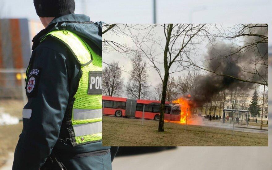 В Вильнюсе поступило сообщение о загоревшемся городском автобусе