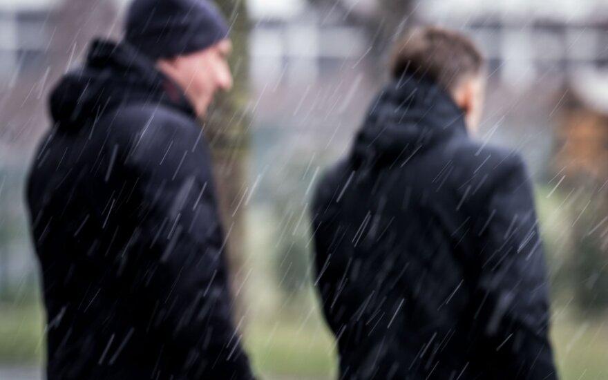 Признаки зимы: в Вильнюсе идет снег