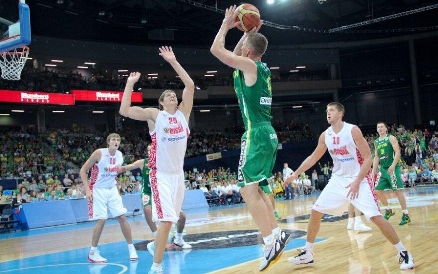 В товарищеском матче Литва уступила России со счетом 80:88