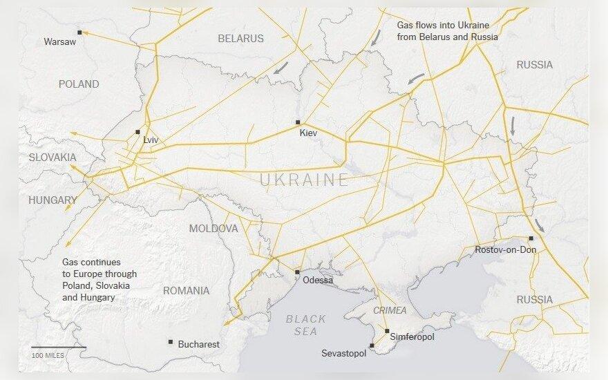 Dujotiekių linijos Ukrainoje ir Kryme (nytimes.com nuotr.)