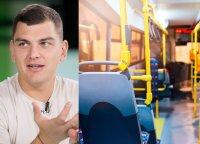 Rolandas Mackevičius išbandė viešąjį sostinės transportą: džiaugėsi, kad elektrinius prietaisus galima pasikrauti tiesiog autobuse