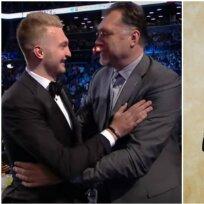 Domantas Sabonis su tėvu Arvydu (Twitter ir Youtube nuotr.)