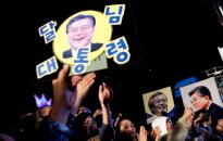 At the Moon Jae-in supporters demo