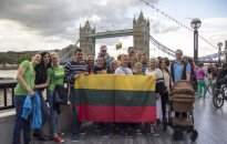 Lithuanians singing the national anthem in London 2016