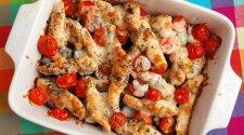 Vištienos apkepas su pomidorais ir baklažanais
