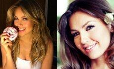 Aktorė Thalia. Kairėje - dabar, 44-erių, dešinėje - serialo Rozalinda akimirka