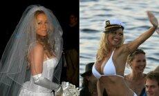 Dainininkė Mariah Carey ir aktorė Pamela Anderson savo vestuvių dieną.