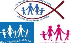 Lenkų rinkimų akcijos logotipo ir Rusijos bei Prancūzijos tradicinės šeimos gynėjų vėliavų palyginimas.