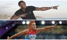 Usainas Boltas ir Tatjana Lebedeva  (AP/RIA Scanpix nuotr.)