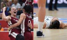 Latvijos ir Sergijos moterų krepšinio rinktinės