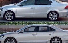 JAV (viršuje) ir Europos rinkoms skirtas Volkswagen Passat