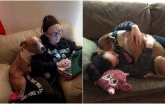 Pavergė internautų širdis: priglaustas šunelis dėkoja apsikabinimais
