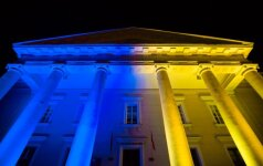 Ukrainian flag colours on Vilnius Town Hall