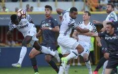"""Turino """"Juventus"""" puolėjas Moise Keanas pelno pergalingą įvartį į """"Bologna"""" vartus"""