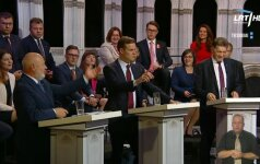 E, Gentvilas, G. Landsbergis and A. Butkevičius during the TV debate on LRT