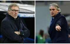 Laurent'as Blanc'as ir Roberto Mancini (Reuters/AFP nuotr.)
