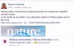 Lietuvos mokslininkai ant Nature viršelio