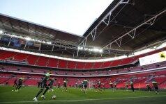 Lietuvos futbolo rinktinės treniruotė Wembley stadione