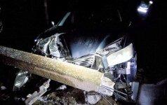 """Baltarusio """"Lexus"""" nulaužė stulpą, o šis nuvirto ant pasienio kontrolės punkto tvoros"""